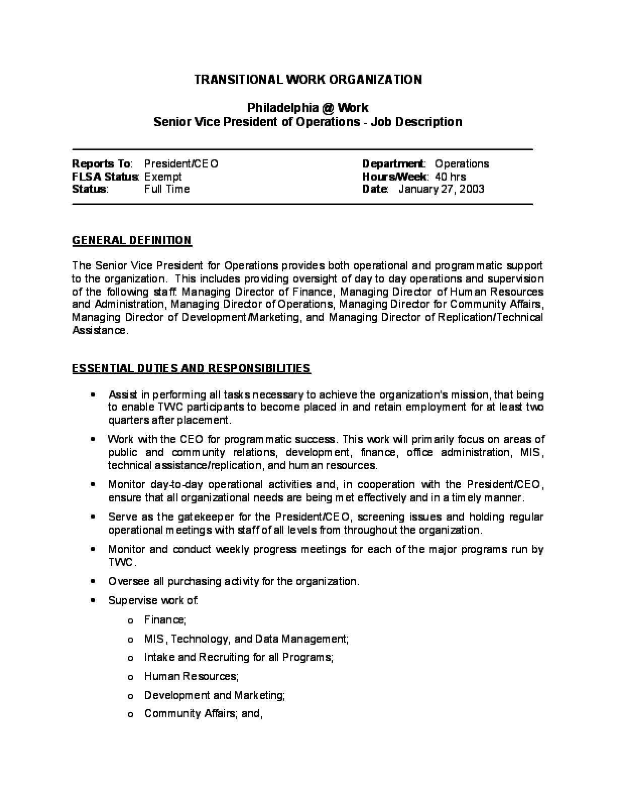 Wunderbar Operations Director Job Description Zeitgenössisch ...