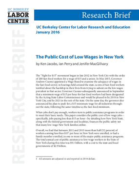 The Public Cost of Low Wages in New York