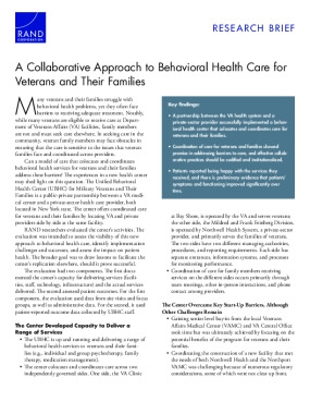 Research Brief: A Collaborative Approach to Behavioral Health Care for Veterans and Their Families