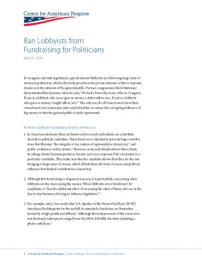 Ban Lobbyists from Fundraising for Politicians