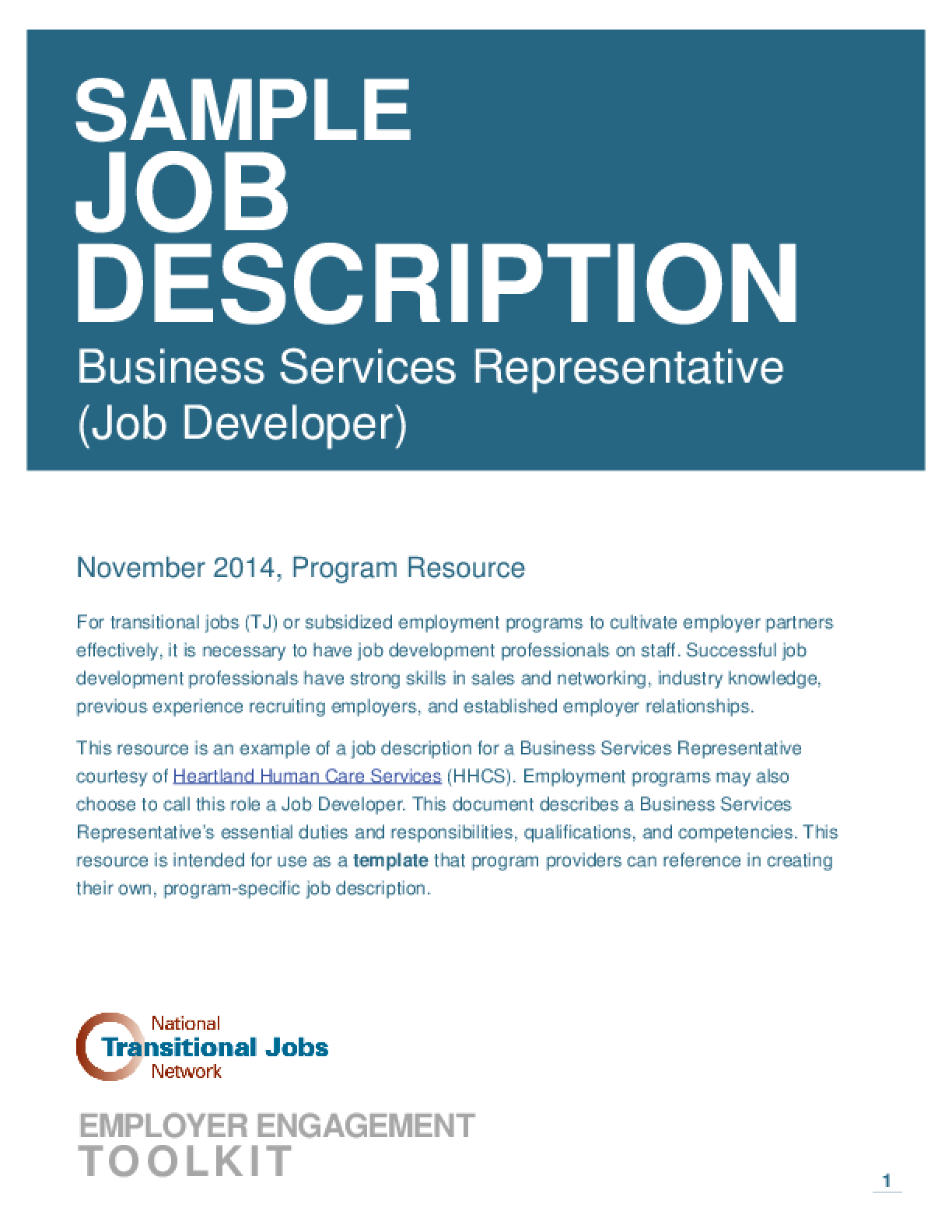 Sample Job Description Business Services Representative